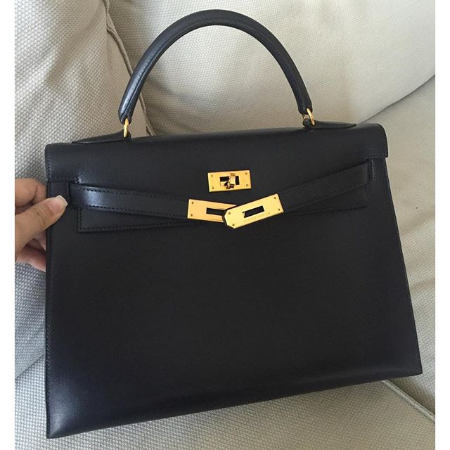 6c2d1d916400 Hermes Kelly Sellier Black Box Calf Leather