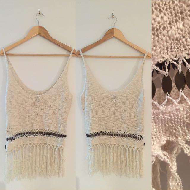 Lee Knitted Tassel Singlet Top