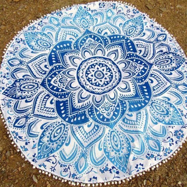 Mandala Beach Blanket / Roundie / Yoga Mat