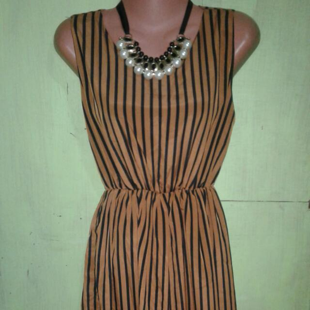 Maxi Dress (Black And Brown Stripes)