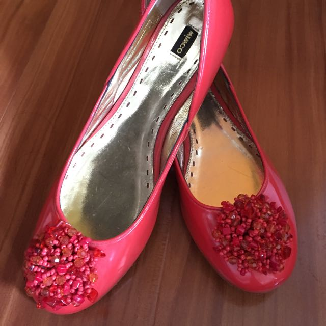 MIMCO Orange Flat Ballerinas With Fiery Beaded Detail