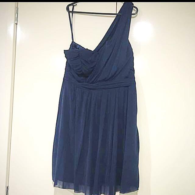 Navy Blue Dotti One Shoulder Dress