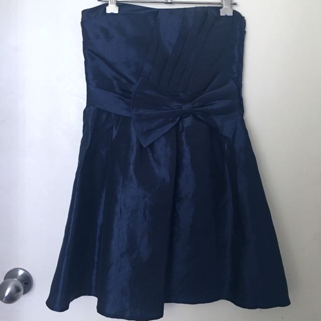 Navy Blue Size 8 Evening Babydoll Strapless Dress