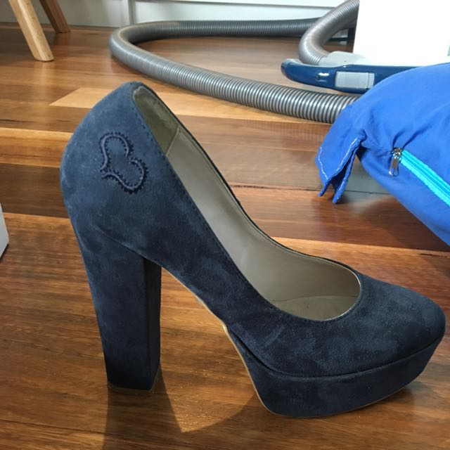 Navy Heels From Italy Size 6