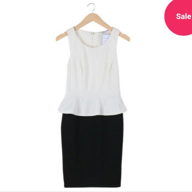 New Look Black And White Peplum Dress