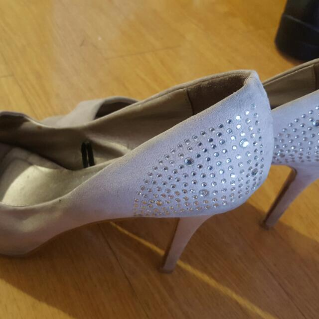 Nude suede Heels with studded design for sale!!