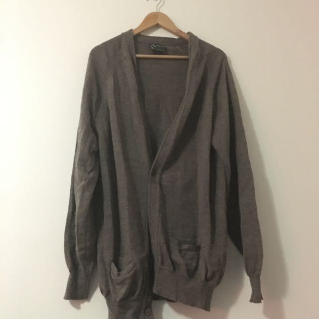 Oversized Brown Woollen Cardigan