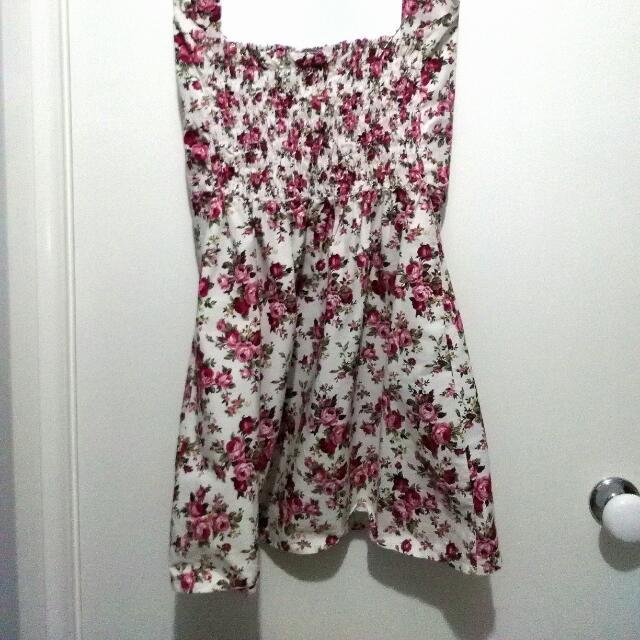 Floral Rose Patterned White Halter Dress