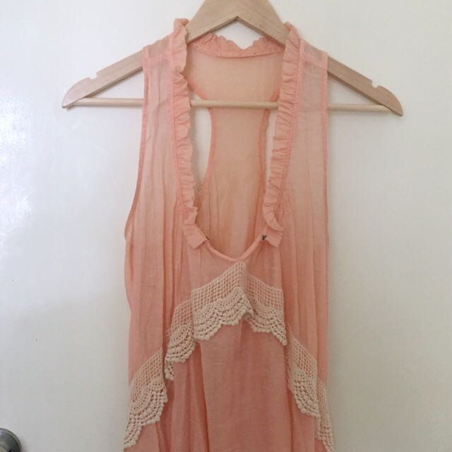 S Boho Crochet Lace Top Peach Muslin