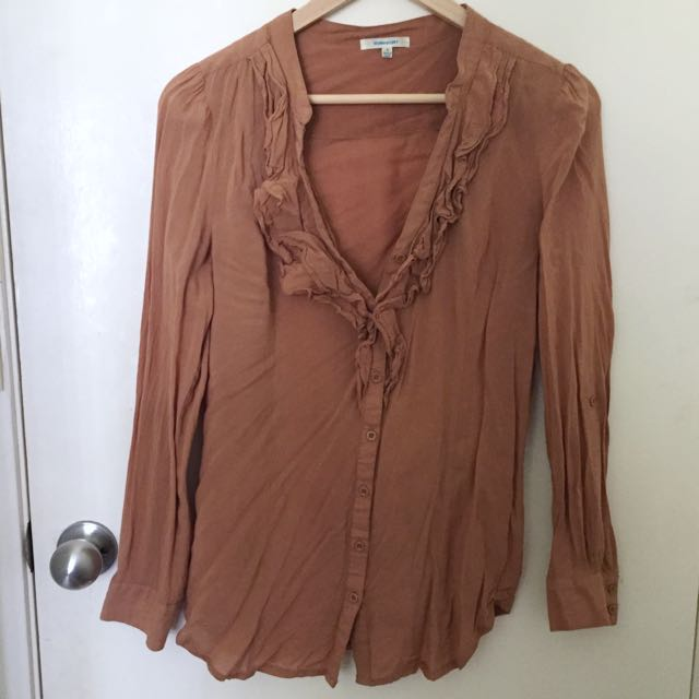 Size 8/S Boho Blouse Tan Shirt Brown Top