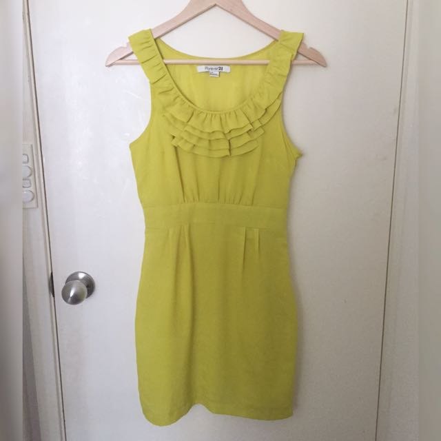 Size S/8 Forever 21 Yellow Fitted Dress Formal Evening Above Knee Dress