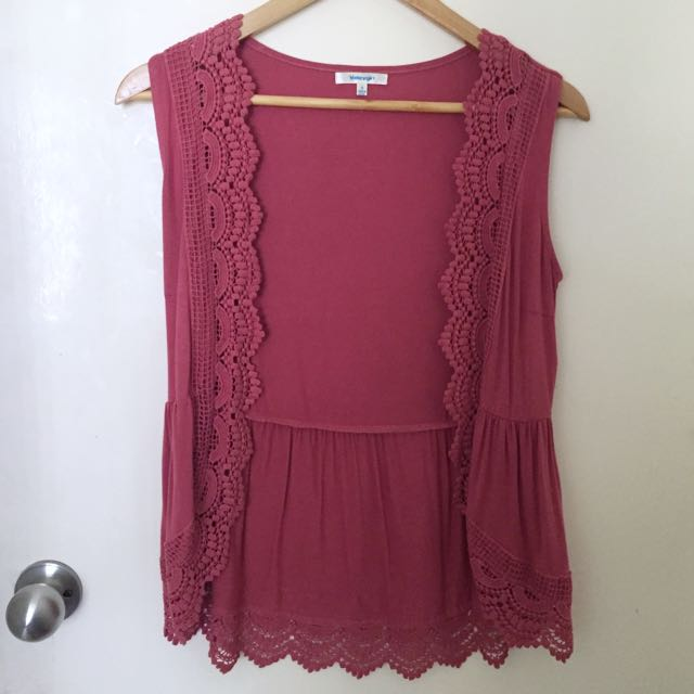 Size S/8 Burgundy Boho Vest Over Top Lace Cover Waistcoat
