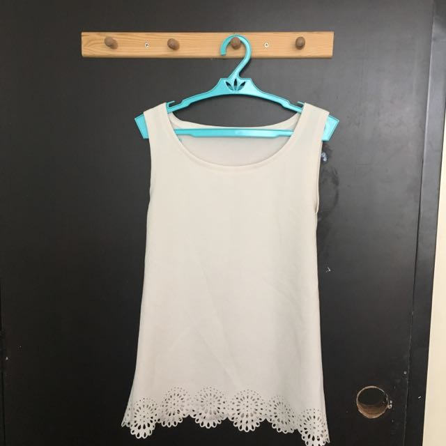 Sleeveless Floral Cut Out Top