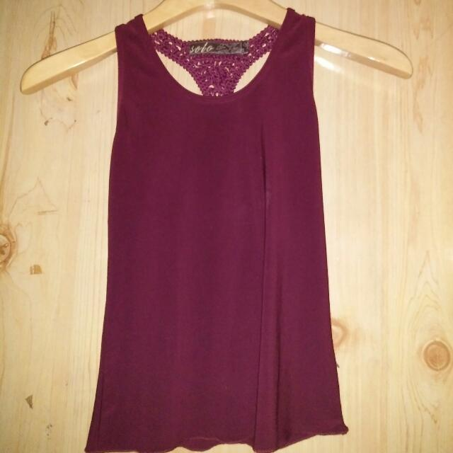 Sleeveless Top with Woven Back Detail
