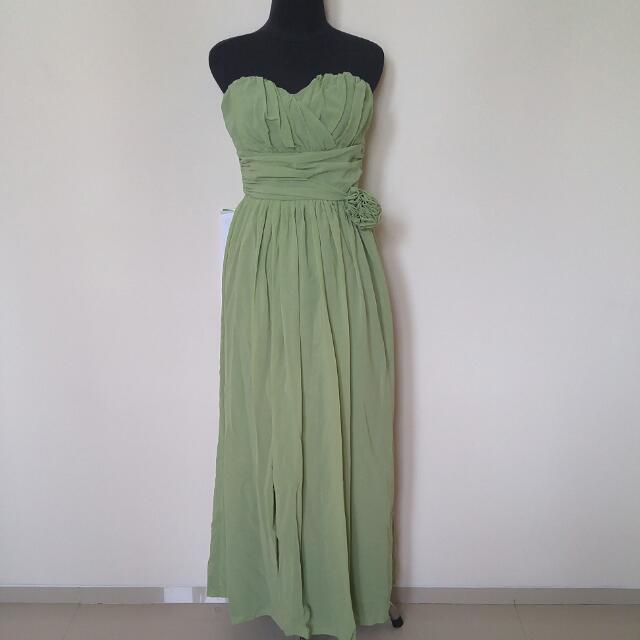 Slit Dress Green
