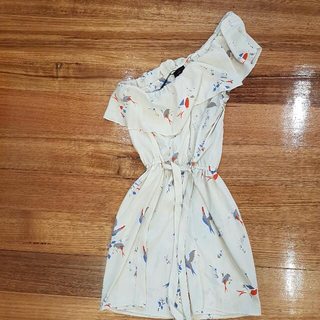 Vera Moda Dress Size XS Bird Print One Shoulder Silk Dress With Waist Tie