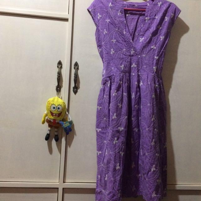 vneck purple dress