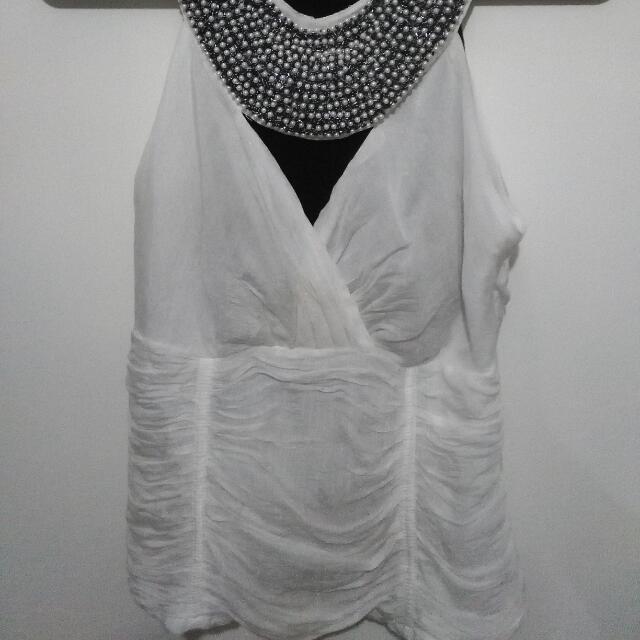 White Goddess Beaded Top