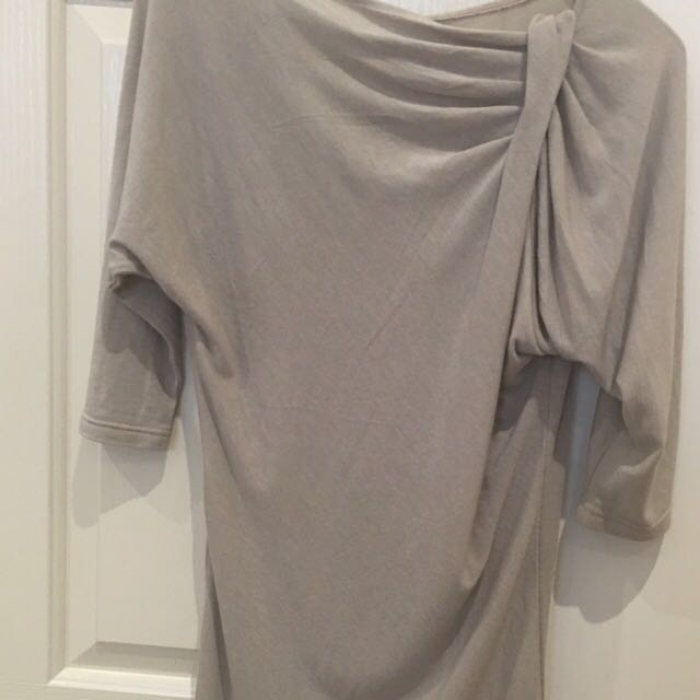 WISH, Size S Or XS. Boat Neck Dress. Taupe Colour