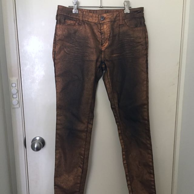 Witchery Size 10 Copper/black Metallic Jeans