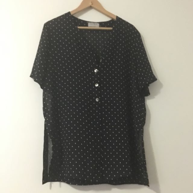 Women's size 14 Polka Dot Button Up Shirt