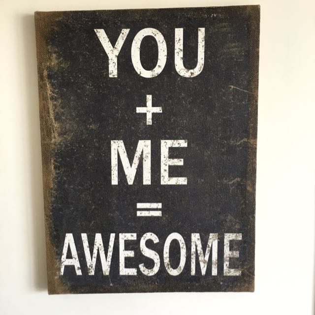 You + Me = Awesome Framed Canvas