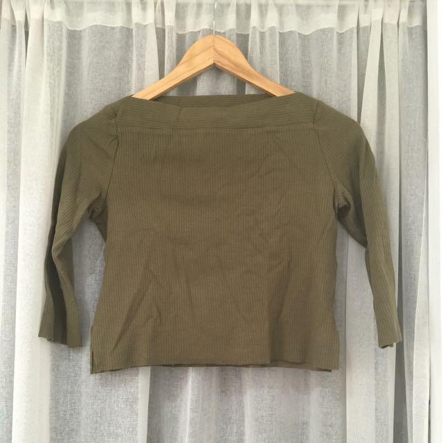 Zara Basics Olive Top