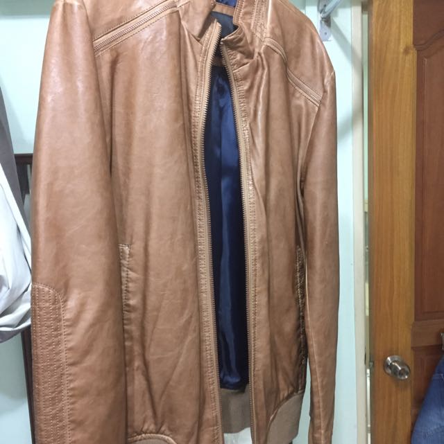Zara For Men Brown Leather Jacket Men S Fashion Clothes On Carousell