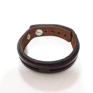 Dark Brown Leather Wristband Bracelet