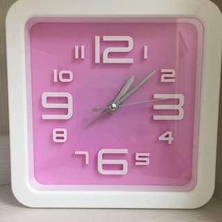 Ikea風格 粉紅白框時鐘/鬧鐘