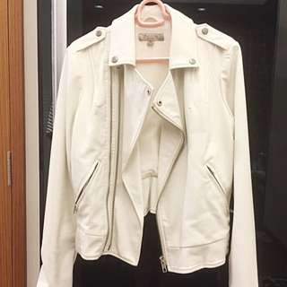 GUESS Leather White Biker Jacket