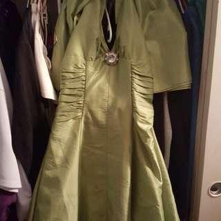 Olive Taffeta Dress