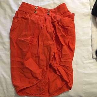 Size 4 ASOS Orange Skirt W Pockets