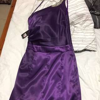 Elle Zeitoune Purple One Shoulder Formal Dress Size 8