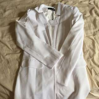 White Longline Blazer Size 8 Out With Audrey