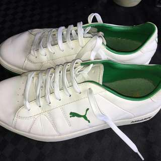 Green And White Leather Puma Shoes
