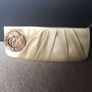 Golden Silky Fabric Clutch