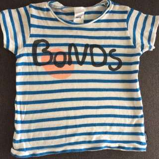 Bonds Baby Girl Blue White Stripe Short Sleeve Shirt Newborn Size 00