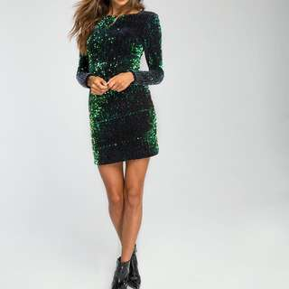 BNWT Motel Rocks Gabby Sequin Plunge Back Dress in Iridescent Green
