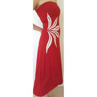 Picnic Red Strapless Dress with White Flower Size 6