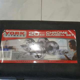 York Fitness 20kg Chrome Dumbbell Set