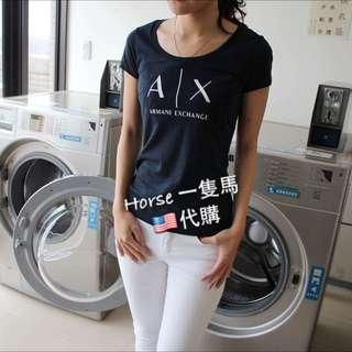 現貨特價AX 女生短T ArmaniExchange logo經典款 黑 白 深藍