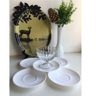"""5 Vintage Milk Glass Saucers - marked """"FRANCE"""""""