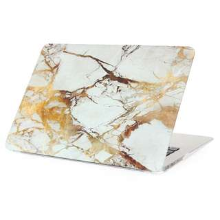 White Marble w/ Gold Streaks Matte Macbook Case