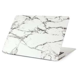 White Marble w/ Gray Streaks Matte Macbook Case