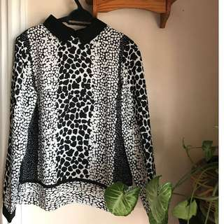 Dorothy Perkins Flowy Animal Print Collared Blouse