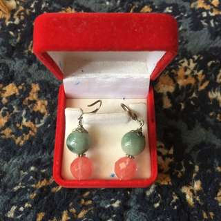 Beautiful Jade And Melon Genuine Stone Ear Ring