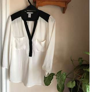 H&M Black & White Flowy Blouse