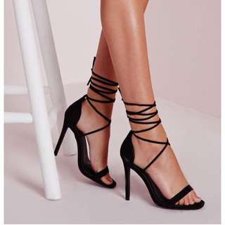 Black Lace Up Heels Size 6