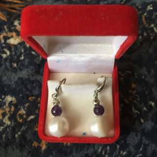Genuine Freshwater Pear Set With Purple Stone